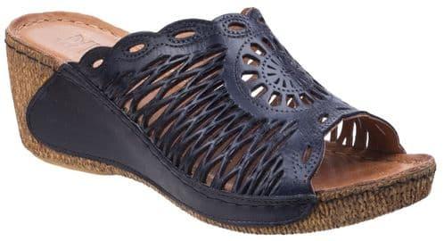 Riva Reggio Leather Sandal Ladies Summer Navy